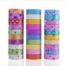 10 pçs glitter washi fita de papelaria scrapbooking fitas adesivas decorativas diy cor fita adesiva material escolar papelaria