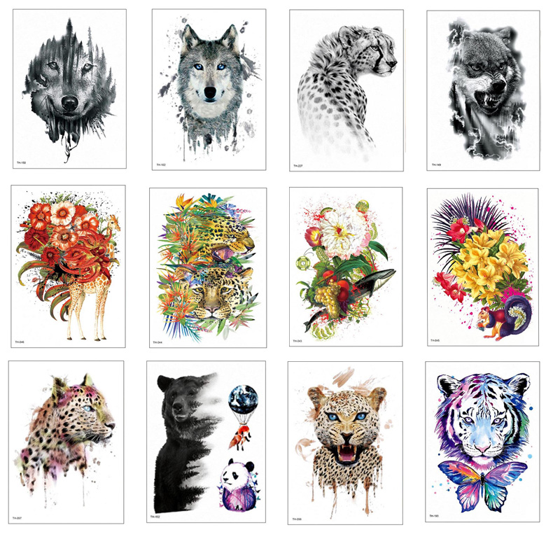 Sale Temporary Tattoo Stickers Waterproof Tiger Wolf Fake Animal Tattoos Adult Men Women Colorful Body Art