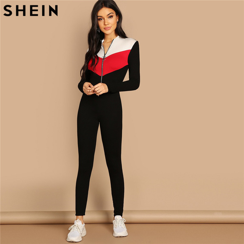SHEIN Black White and Red Patchwork Sporty Jumpsuit Women O-Ring Zip Front Colorblock Unitard Skinny Long Sleeve Jumpsuit