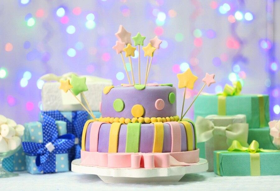 Phenomenal Laeacco Photo Backgrounds Happy Baby Birthday Cake Gift Polka Dots Funny Birthday Cards Online Elaedamsfinfo