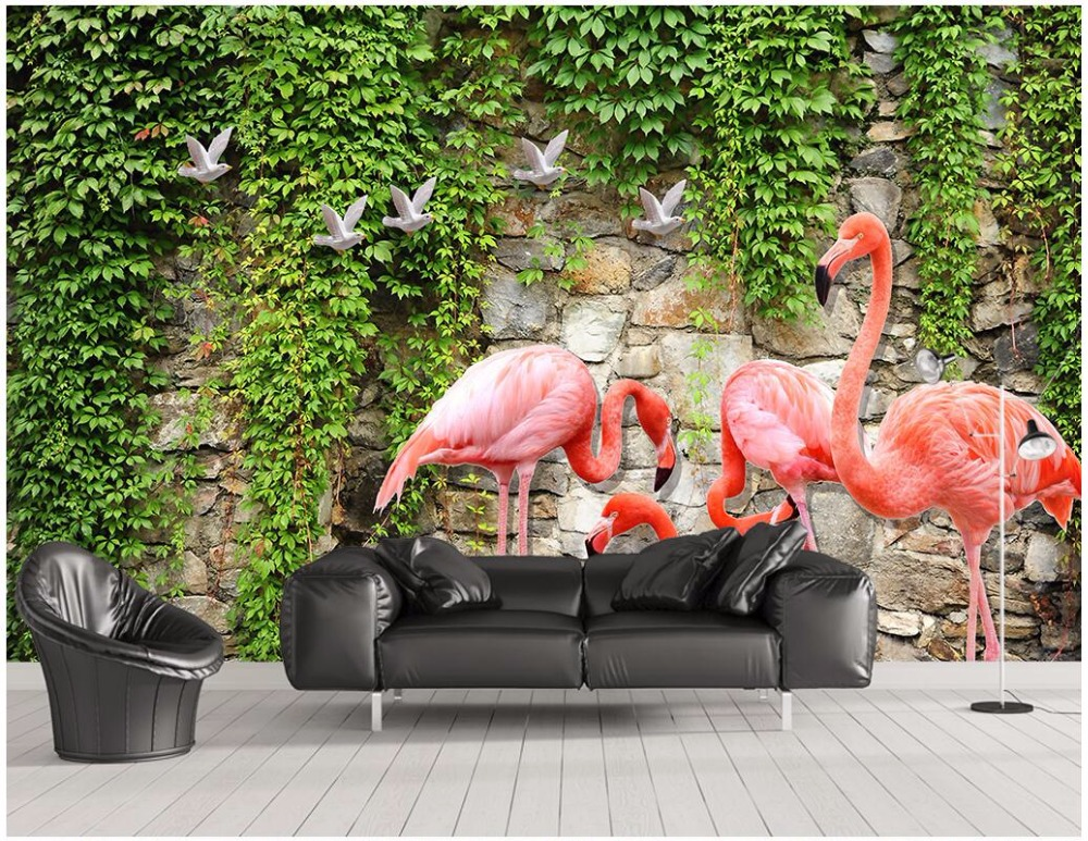 Custom mural 3d photo wallpaper Rose Flamingo TV Wall decoration painting 3d wall murals wallpaper for living room walls 3 d custom photo 3d wall murals wallpaper mountain waterfalls water decor painting picture wallpapers for walls 3 d living room