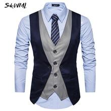 SUKIWML, новинка, роскошный бренд, Chaleco Hombre Vestir, приталенный, Colete, Social, мужской костюм, жилет, Faker, два предмета, жилет, костюм, Homme S-2XL