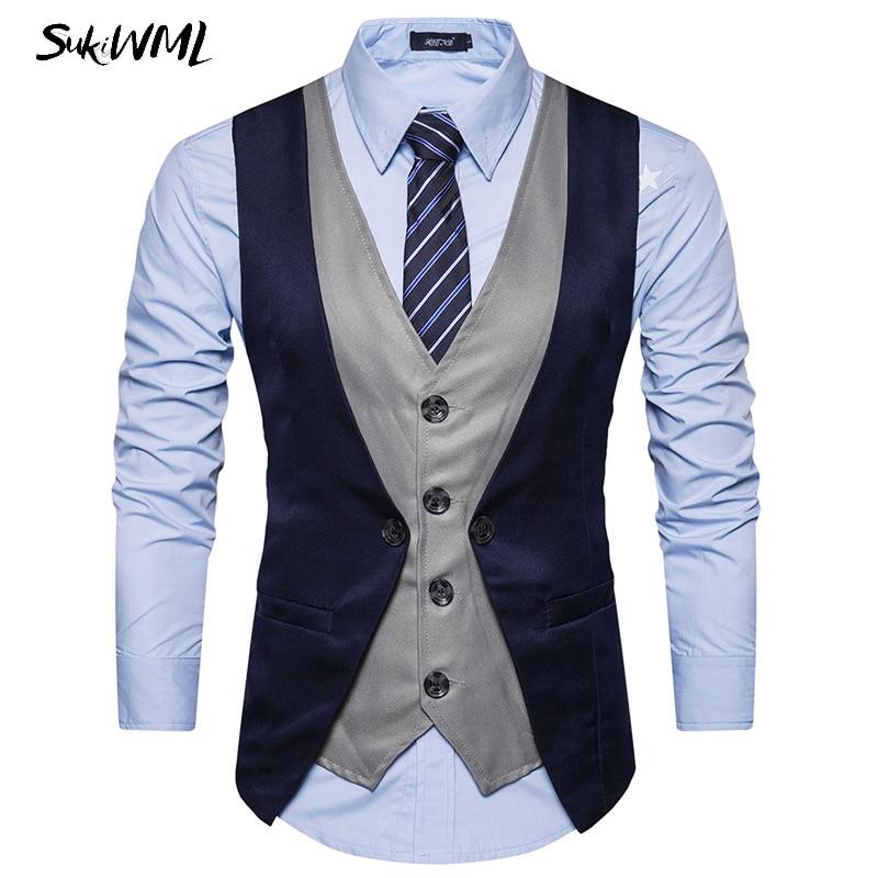 SUKIWML New Luxury Brand Chaleco Hombre Vestir Slim Fit Colete Social Mens Suit Vest Faker Two Pieces Gilet Costume Homme S-2XL