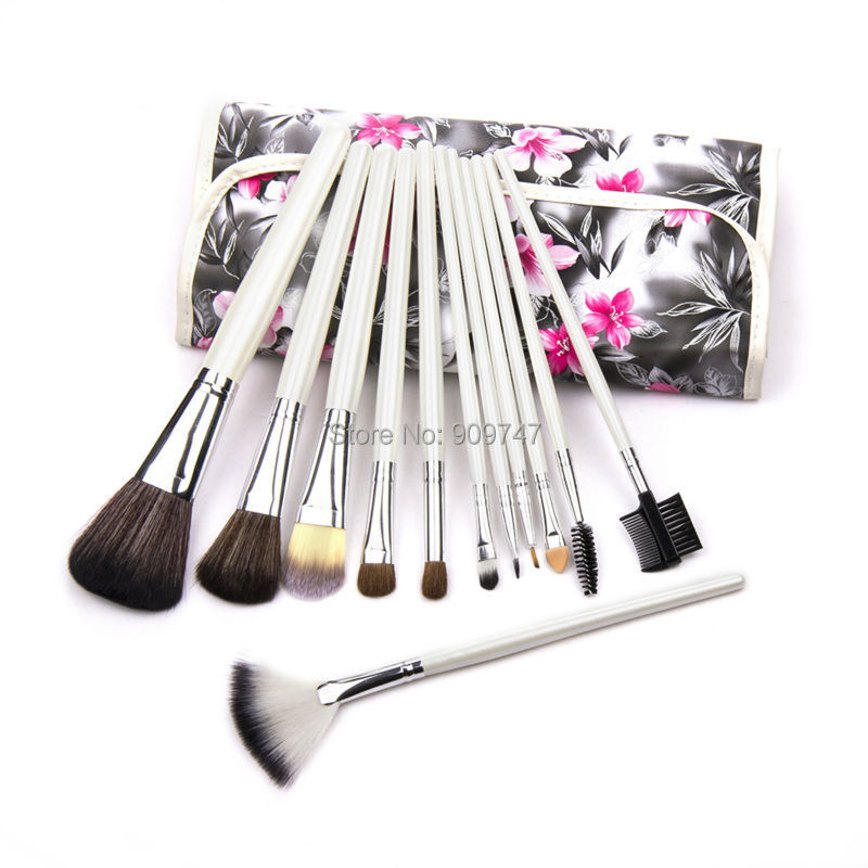 12 pcs Makeup brush Tools Classical Professional Cosmetic Brush Set,Make up Brushes kits with flower Leather Makeup Brushes Case hot sale 2016 soft beauty woolen 24 pcs cosmetic kit makeup brush set tools make up make up brush with case drop shipping 31