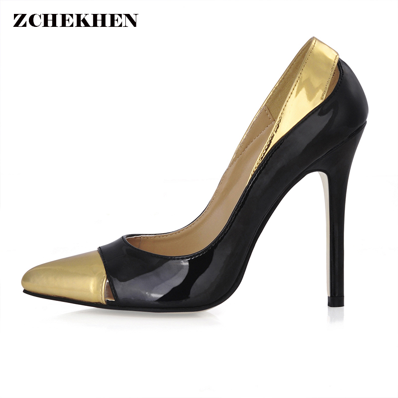 Black gold Women's High Heels Pump Shoes Pointed toe Slip On pumps Ladies office Party Shoes Stilettos Heels apoepo 2018 newest woman stilettos pumps sexy pointed toe slip on dress heels office lady thin heels shoes bling party shoes