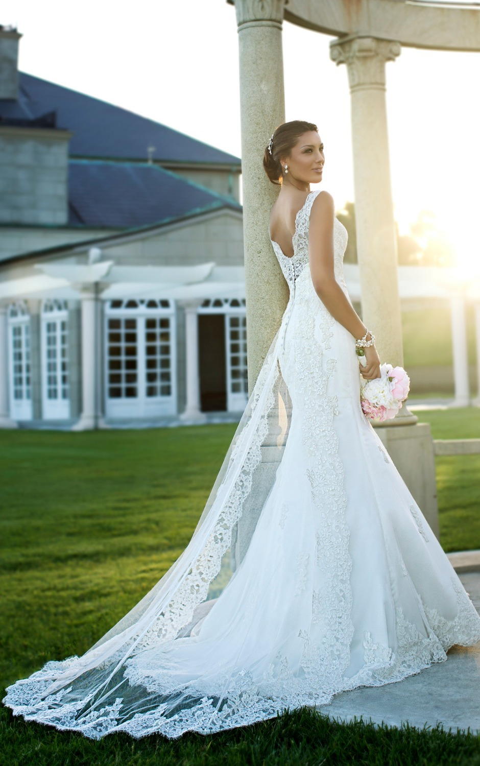 Romantic Satin Lace Wedding Dresses Bridal Gowns Dress Lace Overlay ...