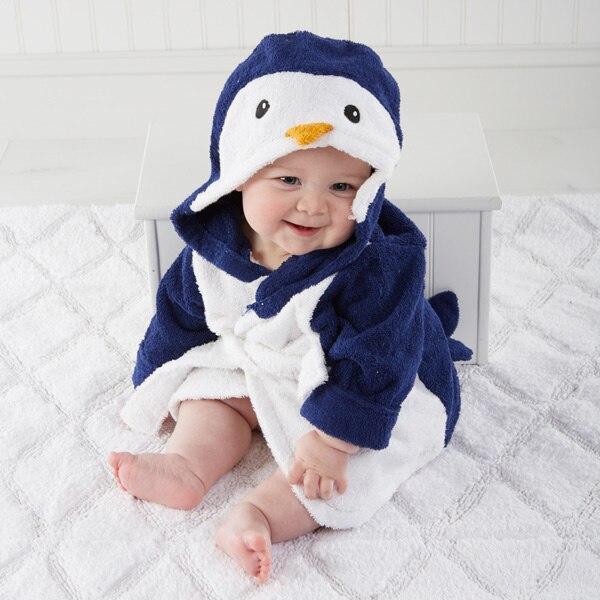 Милый детский банный халат с мышкой пандой, чистый хлопок, купальный Халат с капюшоном, Пляжное банное полотенце, спа-халат с мышкой крысы, пончо для младенцев - Цвет: Penguin