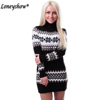 Loneyshow Women Sweaters Pullovers Turtleneck Long Sleeve Sweater Dress 2017 Winter Knitting Women S Sweet Warm