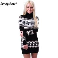 Loneyshow Women Sweaters Pullovers Turtleneck Long Sleeve Sweater Dress 2017 Winter Knitting Women S Sweet Warm