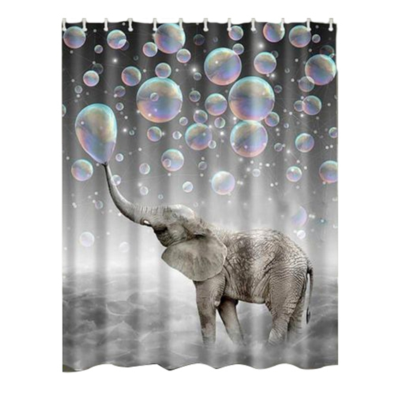 IALJ Top Waterproof Fabric Bathroom Shower Curtain Sheer Panel Decor 12 Hooks Bubble Elephant
