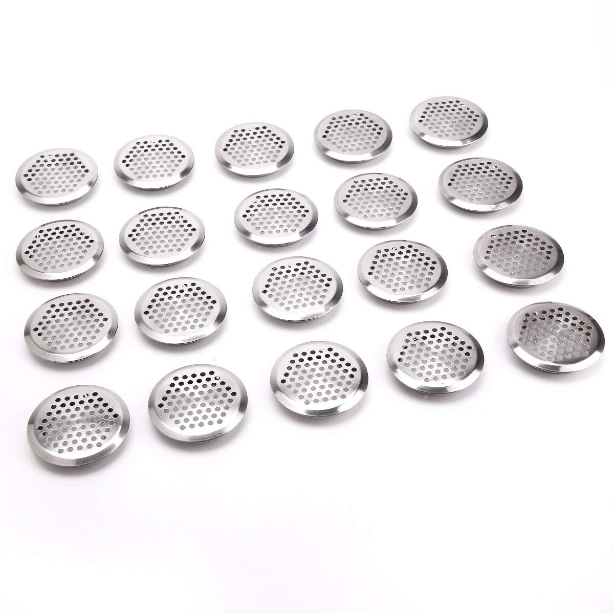 20 Pieces Aeration Grid Ventilation Circle Lid For Cabinet/shoe Cabinet/wardrobe Vent Ventilation Cap 65mm Stainless Steel Silve