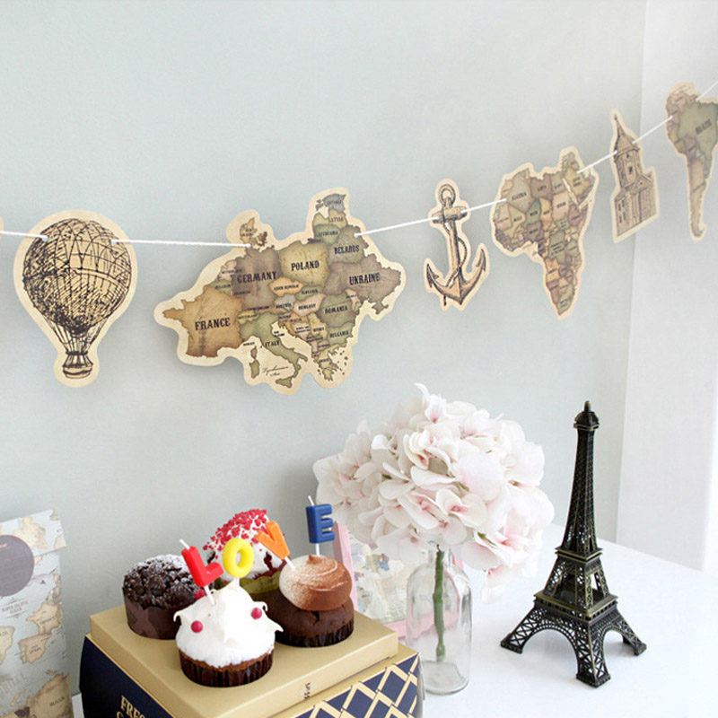 9 sheets/lot Cute Creative Vintage Retro World Map Lovely Colorful Flag Map for Party Novelty Item Gift Free Shipping