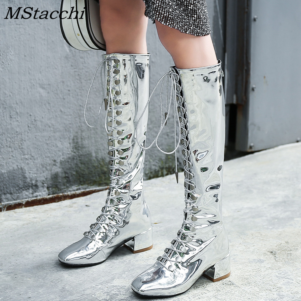 MStacchi Silver Patent Leather Women Boots Knee High Square Toe Chunky Heel Ladies Booties Front Cross Tied Back Zip Shoes WomanMStacchi Silver Patent Leather Women Boots Knee High Square Toe Chunky Heel Ladies Booties Front Cross Tied Back Zip Shoes Woman