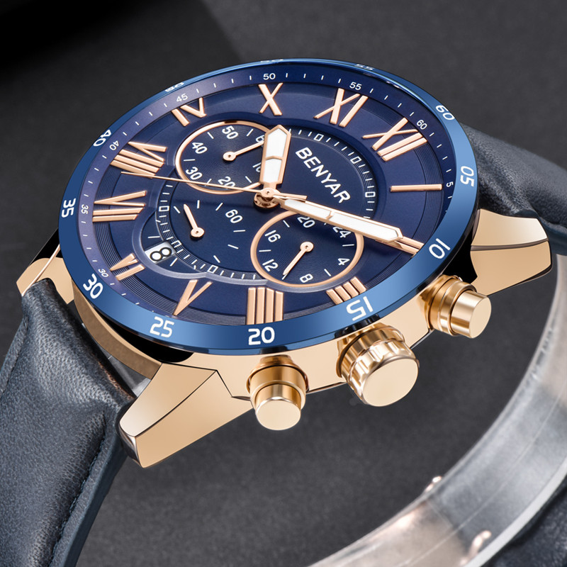 2018 Top Luxury Brand BENYAR Fashion Blue Watches Men Quartz Watch Male Chronograph Leather WristWatch Relogio Masculino
