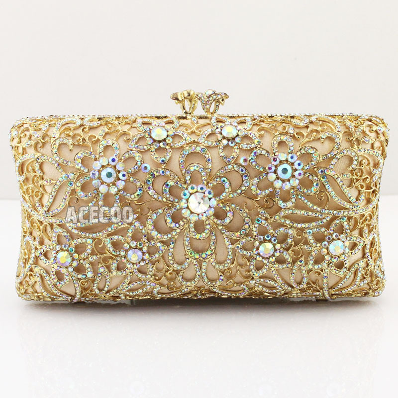 Unique Luxury Womens Diamond Crystal Hollow Flower Clutch ...