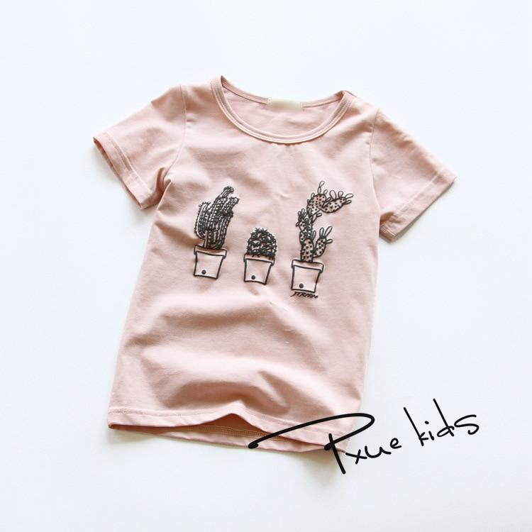 Új nyár 2018 Baba T-ingek lányoknak Pamut rövid ujjú Cactus rajzfilm Gyermekek Teszi gyerekek aranyos felsők fiúk póló