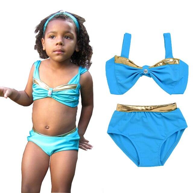 16a52f34e2 Two-Piece Little Girl Bowknot Bikini Swimsuits Baby Kids Girls Bikini Suit  Swimsuit Swimwear Bathing Swimming Costume Biquini