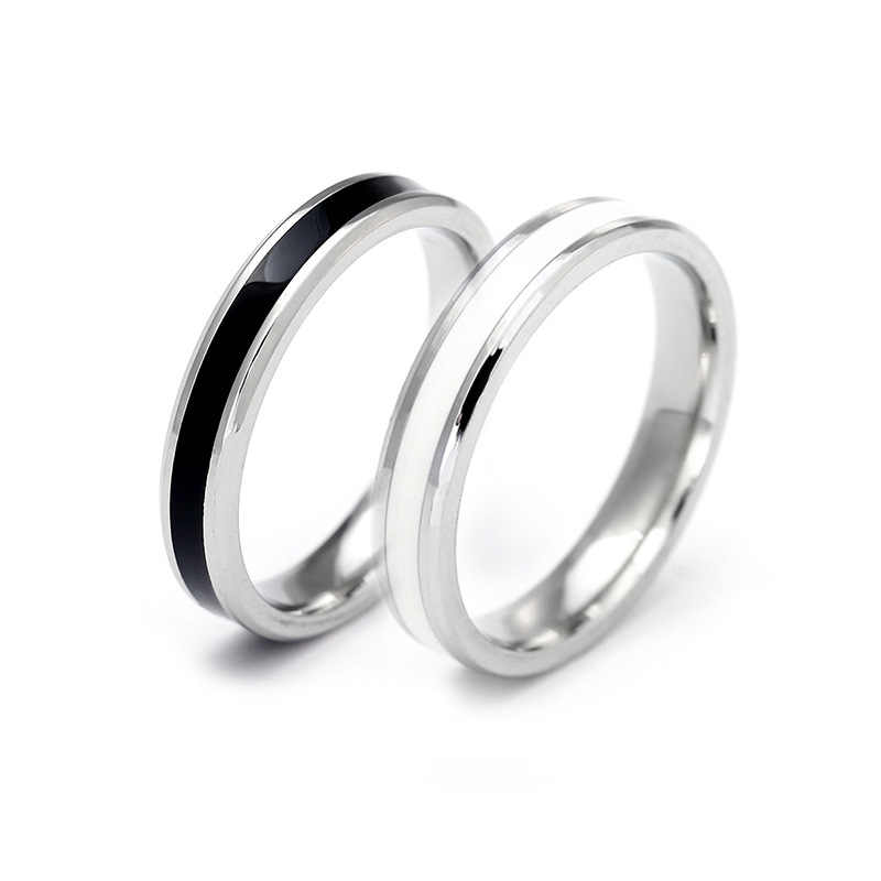Tiny Thin 4mm Ring 316L Stainless steel Titanium Black/White Drops of oil Ring For Women and Men Wedding Engaged couples ring