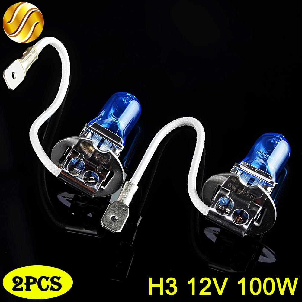 flytop H3 12V 100W 2 PCS(1 Pair) 5000K 2200Lm Xenon Dark Blue HeadLight Lamp Car Halogen Light Bulb Super White napapijri guji check dark blue
