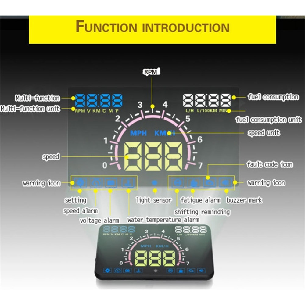 5.8 Car HUD Head Up Display Speedometer Car HUD OBD GPS Speedometer Projector Display Auto eanop en smart car hud head up display obd ii eobd auto digital car speedometer for audi a6 c6 toyota ford