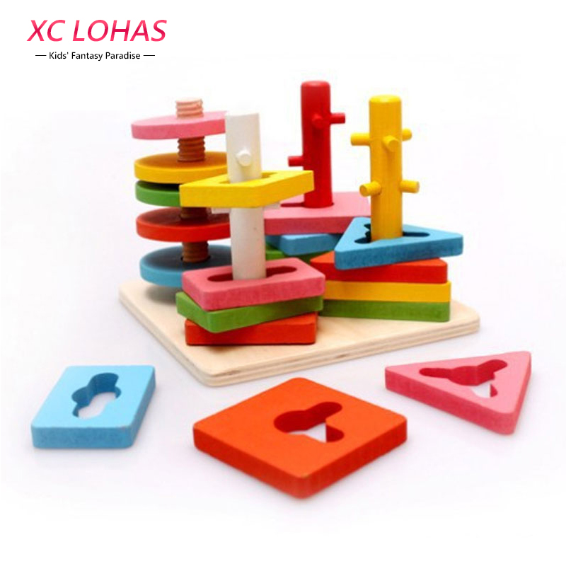 Baby Wooden 3D Geometry Shape Educational Rotary Building Blocks Children Learning Match Classification Block Toys Fast Shipping 14 piece per set montessori baby educational wooden geometry shape wood building blocks teaching toys