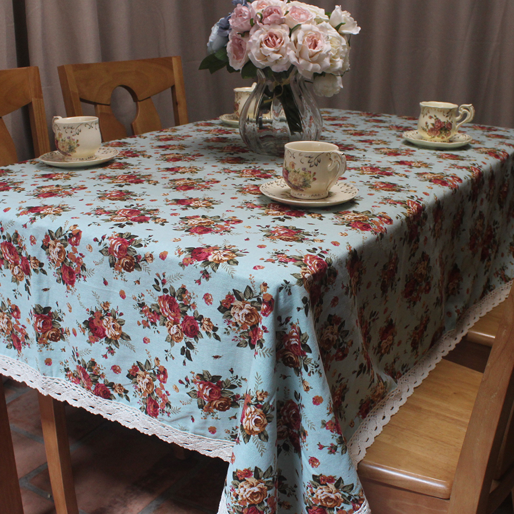 CURCYA Beige / Chocolate / Blue Cotton Linen Table Cover Pastoral Rose Flowers Printed Coffee Shop Hotel Restaurant Tablecloth