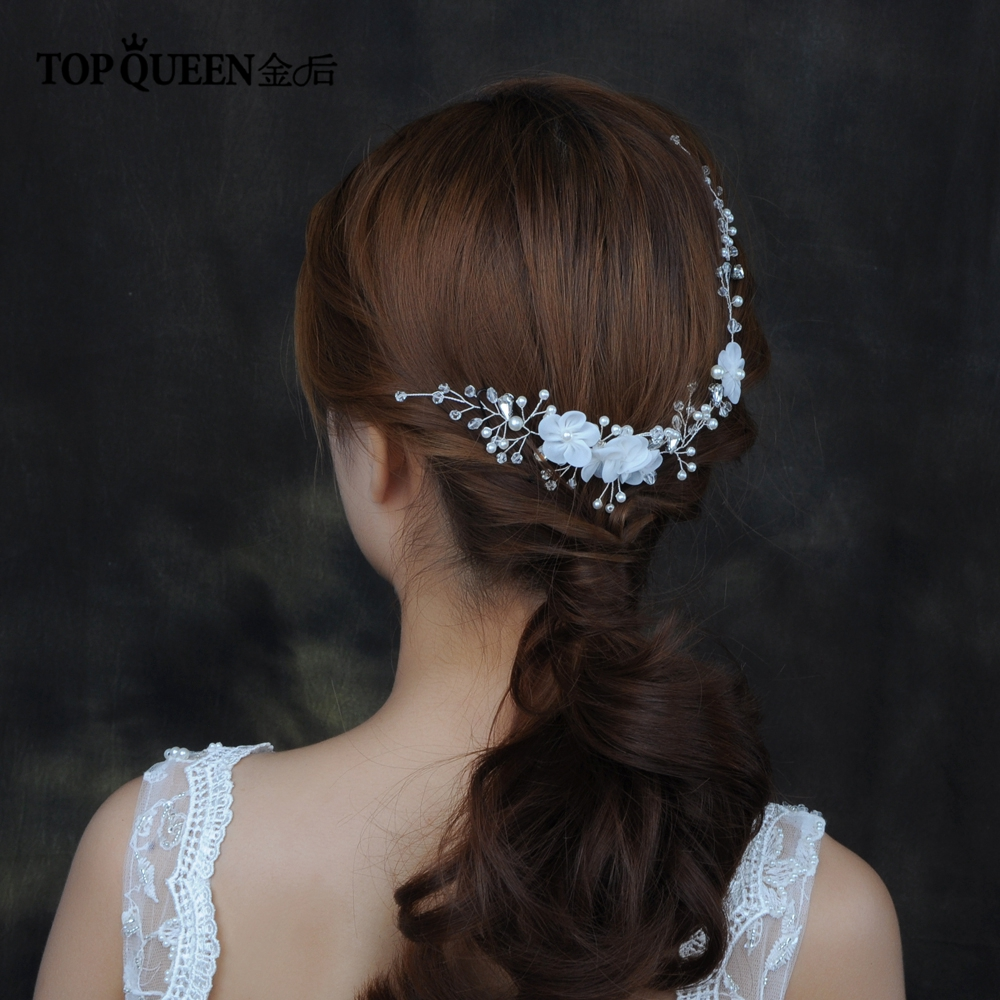 TOPQUEEN HP109 Bridal Hair Accessory With Crystal Pearls Flower Bride Floral Comb Headpiece Prom Hair Jewelry For Wedding
