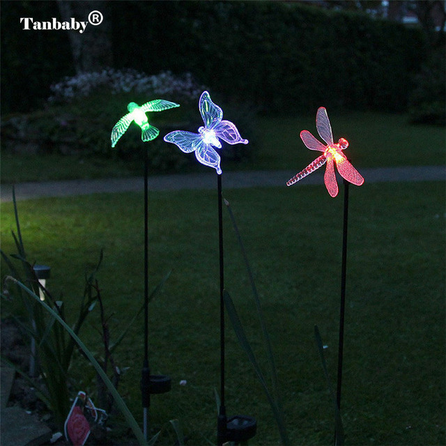 3pcs Lot Solar Ed Lawn Light Bird Erfly Dragonfly Landscape Lighting Color Changing Stake Outdoor Garden