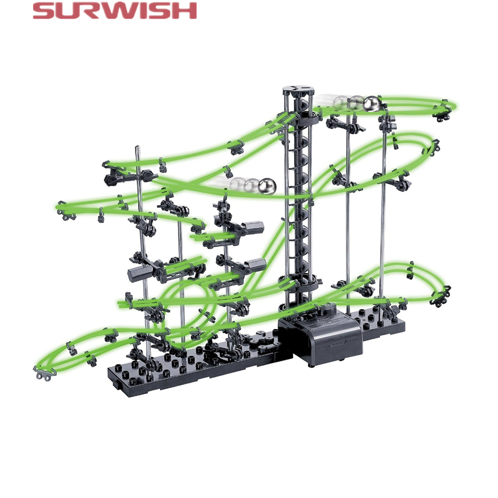Surwish DIY Educational Toys Spacerail Level 2 Glow In The Dark Marble Roller Coaster with Steel Balls 10000mm 231-2 spacerail diy physics space ball rollercoaster with powered elevator 32000mm rail