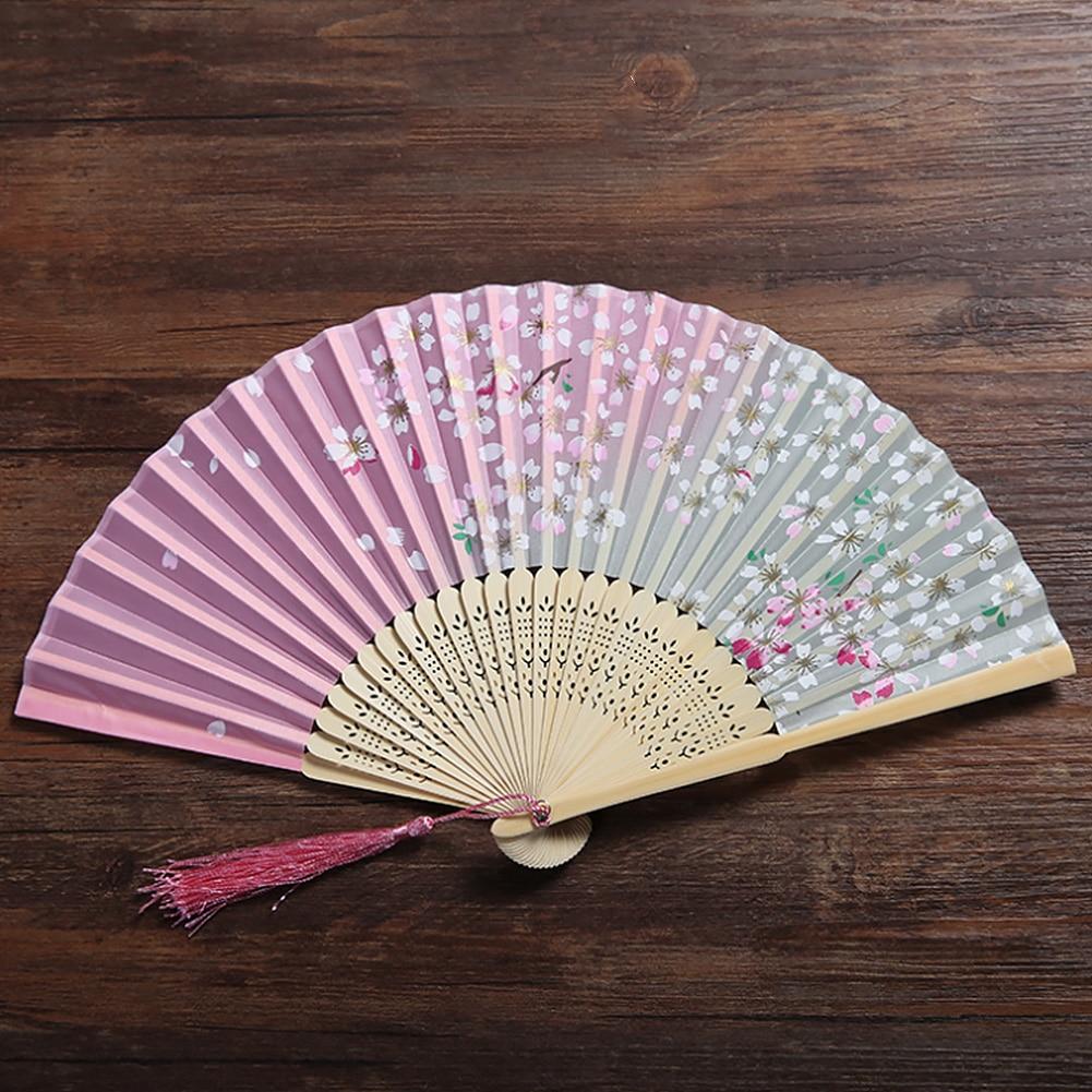 Small Wall Decoration Fan Retro Japanese Style Folding Bamboo Portable Cherry Blossom