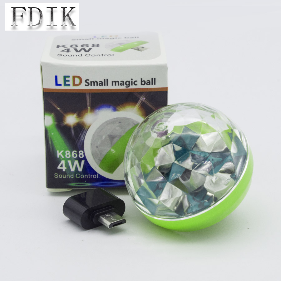 LED Small Magic Ball Bulb 4W DC 5V Vehicular USB Sound Control Light DJ Stage Lighting Effect Party KTV Colorful Atmosphere Lamp
