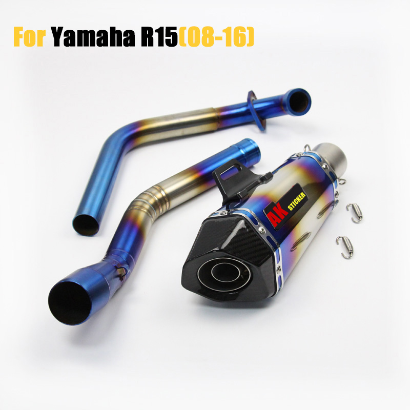 все цены на 51mm OD exhaust muffler for Yamaha YZF R15 Motorcycle Exhaust middle pipe for YAMAHA YZF-R15 2008-2016 with motorcycle muffler