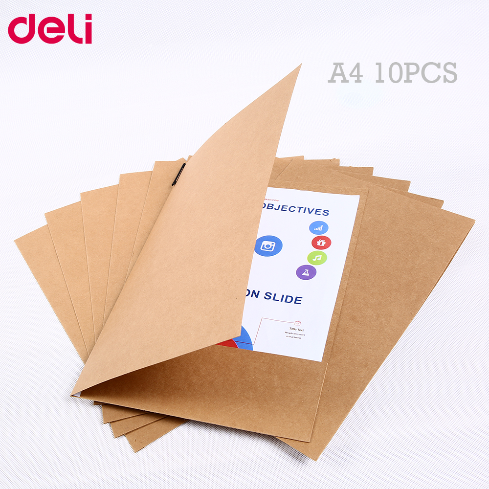 Deli Kraft Paper File Holder A4 10pcs/set Good Quality Paper Protector Paper Folder Protect Important Files