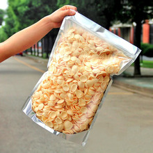 100 Pack Big Clear & Silver Metallic Food Storage Standing Bag  Aluminum Foil Ziplock Pouch for Grain Cookie Coffee Baking