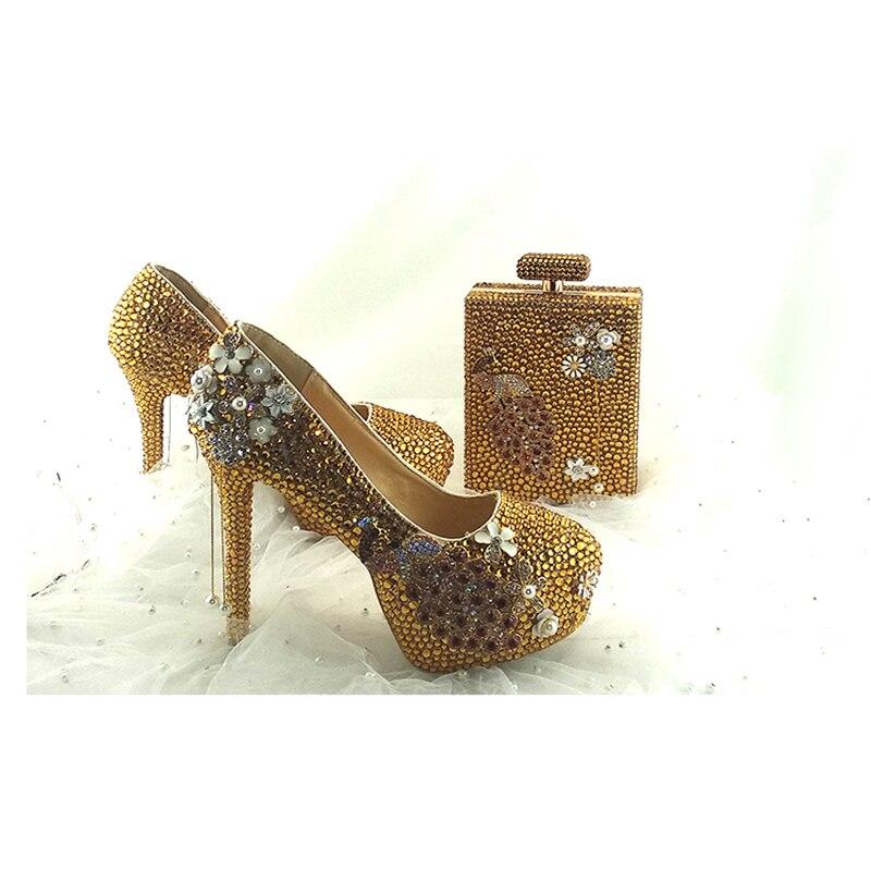 Zapatos 5 With gold 8cm Forma Bag Alto Boda Deco Diamantes Hermosa Tacón  Bolso Fiesta De Bag 14cm Phoenix ... a3f1f0aa4476