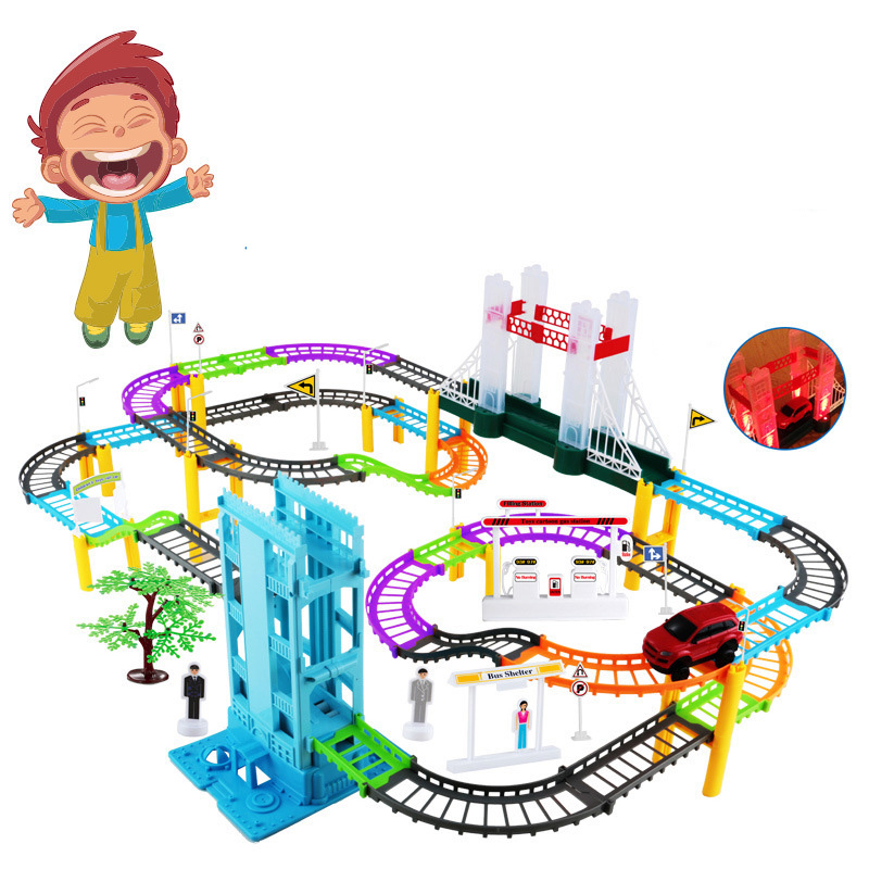 Car Racing Magical Track Simulation City High Speed Rail Electric City Highway Track Race Driving Toys For Children Boys Girls 80pcs slot car track toys rail road train bus set square city traffic scene wooden rail track locomotive toys for children