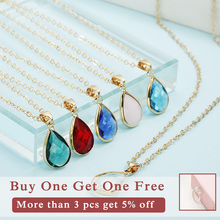 Birthstone Natural Water Drop Pendant Necklace Druzy Quartz Gem Stone Crystal Diy Charm For Women Fashion Jewelry