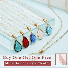 Birthstone Natural Water Drop Pendant Necklace Druzy Quartz Gem Stone Crystal Diy Charm Necklace For Women Fashion Jewelry(China)