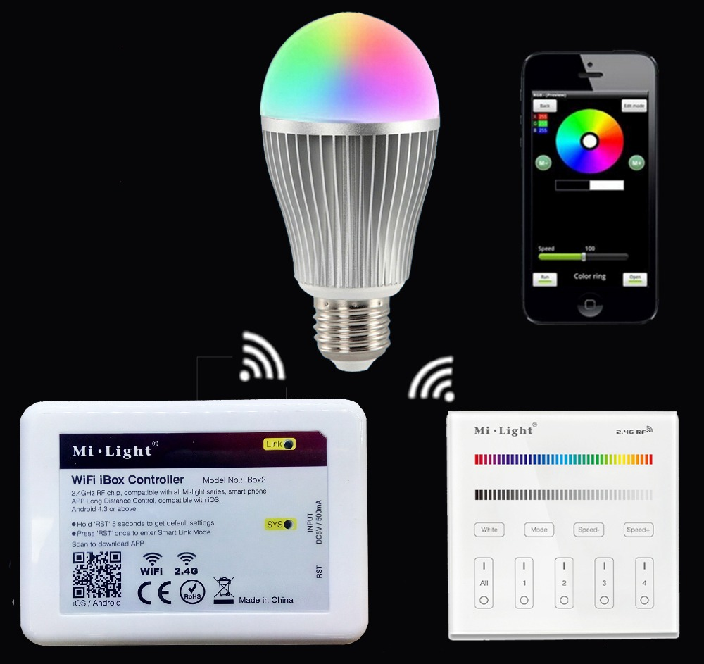 все цены на  2.4GHz B3/T3 4-Zone Touch Screen RF Panel Controller+Mi.light E27 9W RGBW RGBWW Led Bulb Lamp+2.4G Wifi Ibox2 Controller  онлайн
