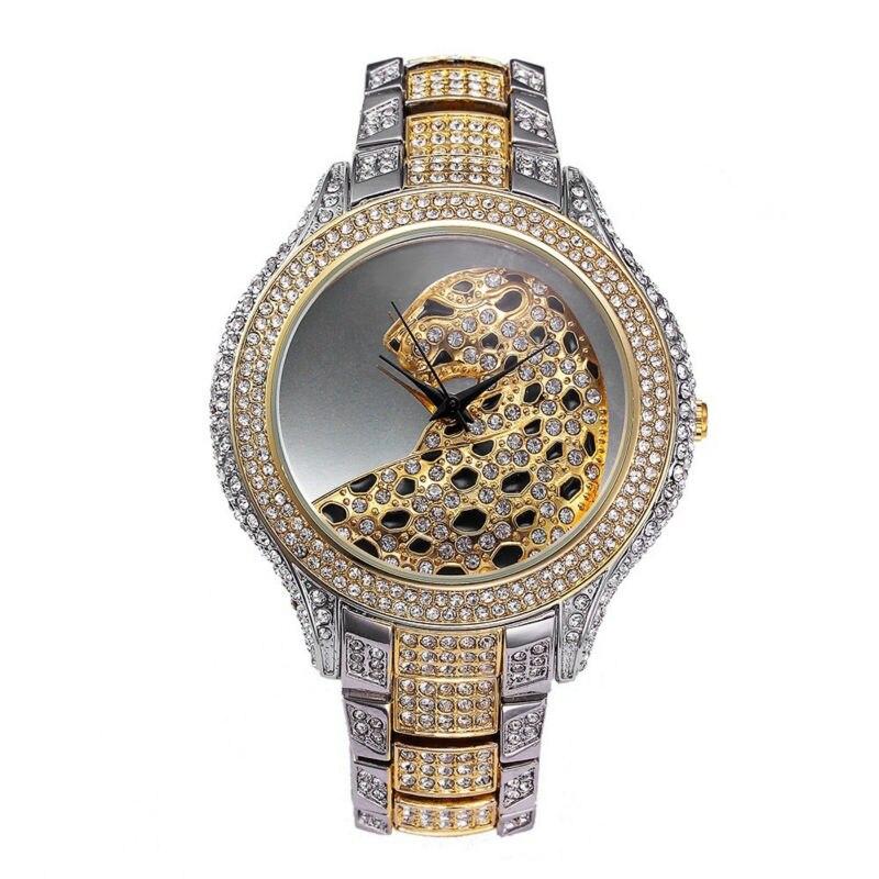 2019 New Fashion Silver Top Luxury Watches High Quality Women Rhinestone Crystal Quartz Watches Lady Leopard