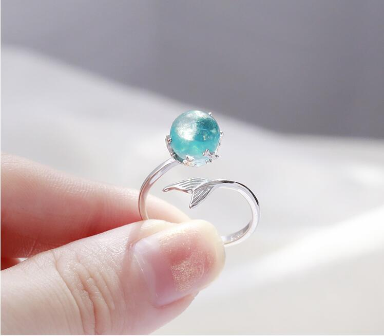 925 Sterling Silver Blue Crystal Mermaid Bubble Open Rings For Women Wedding Birthday Creative Fashion Jewelry jz137 2