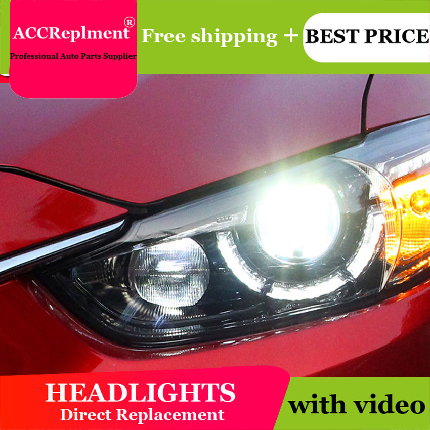 Car Styling for Mazda6 Atenza 2014-2015 LED <font><b>Headlight</b></font> <font><b>Mazda</b></font> <font><b>6</b></font> <font><b>Headlights</b></font> Lens Double Beam H7 HID <font><b>Xenon</b></font> bi <font><b>xenon</b></font> lens image