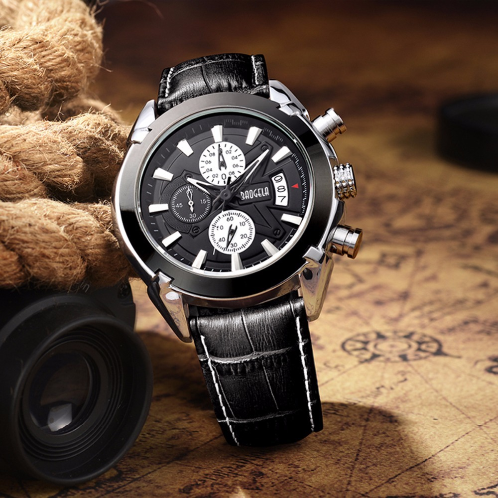 BAOGELA Quartz Watch Man Fashion Analog Hot Luxury Leather Brand Watches Men's Casual Chronograph Hour Luminous Male Wristwatch baseus little devil case for iphone 7 plus black