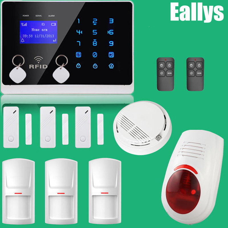 APP Controlled Wireless GSM Home Security Alarm System, 850/900/1800/1900MHz, Smoke Sensor, Touch Panel, Free Shipping free shipping lcd dispaly home wireless gsm alarm system 850 900 1800 1900mhz