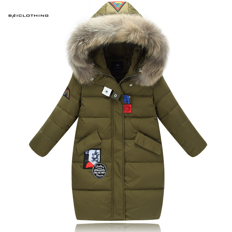 2017 Fashion Girl Winter Down Jackets Children Coats Warm Thicken Duck Down Kids Outerwears for cold -30 degree jacket For 4-13Y fashion girl winter down jackets coats warm baby girl 100% thick duck down kids jacket children outerwears for cold winter b332
