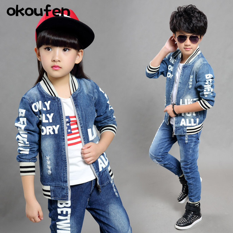 2018 new brand children jean suit quality fashion 5 6 7 8 9 years old kids clothes fashion boy and girl jean sets retail