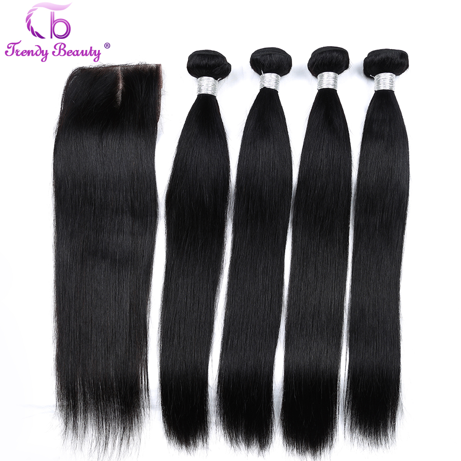 5 Bundles hair in total Trendy Beauty Brazilian straight hair 4 bundles with 1 pcs closure human hair bundles middle part #1b