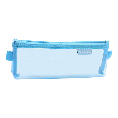 Zip Up Nylon Mesh Pencil Pen Stationary Organizer Case Bag Blue For Students