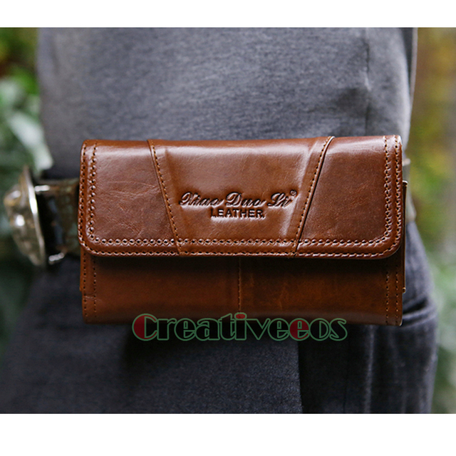 2017 New Men Oil Wax Genuine Leather Cowhide Vintage Cell Mobile Phone Case Cover Belt Pouch Hook Purse Fanny Pack Waist Bag