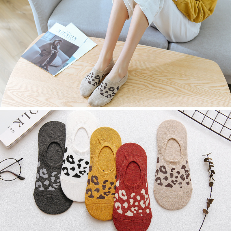 1 Pair 2019 Summer New Shallow Mouth Invisible Ankle Boat Socks Korean Leopard Socks Women Silicone Non-slip Cotton Socks